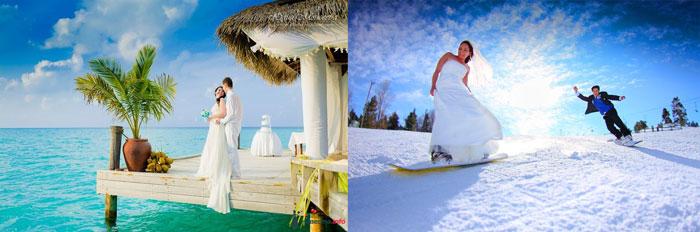 Молодожены летом у моря и зимой на лыжах