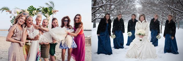 Невеста с подругами на пляже и зимой на улице