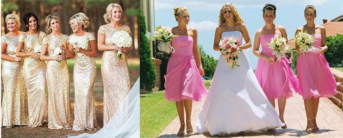 Невеста и подруги в длинных и коротких платьях