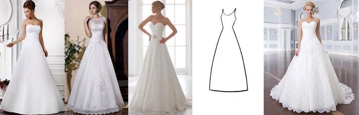 Свадебные платья стиля А силует
