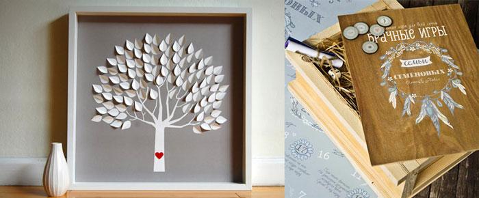 Картина с деревом и деревянная шкатулка с журналом брачные игры