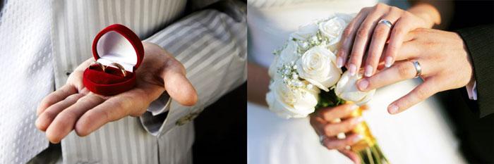 Мужчина с обручальными кольцами и руки с кольцами