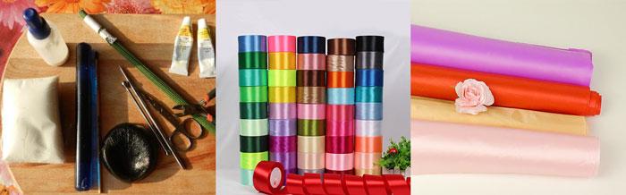 Ткани, ленты и инстурменты для создания цветов из ткани