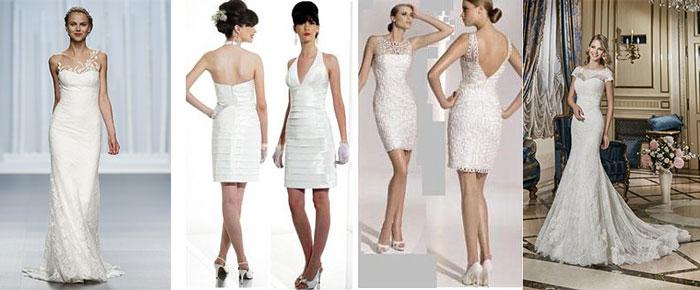 Облигающие свадебные платья разной длины
