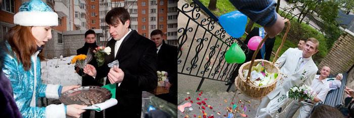 Жениху подают поднос и корзину для выкупа невесты