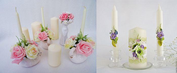 Свечи в свадебных украшениях