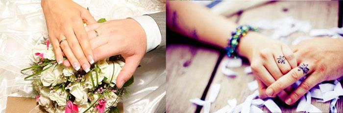 Руки влюбленных и оручальные кольца на пальцах