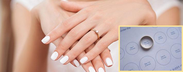 Рука с кольцом и измерение кольца