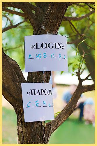 Листочки с надписями логин и пароль на дереве