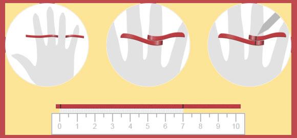 Измерение диаметра пальца нитью