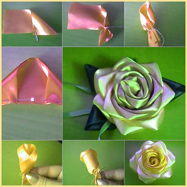 Этапы создания розу из ленты