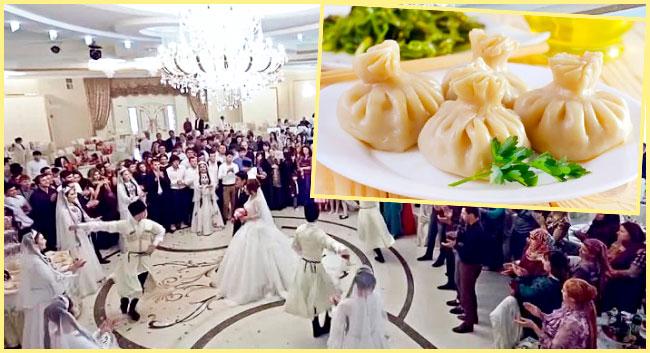 Танцы на свадьбе и блюдо хинкала