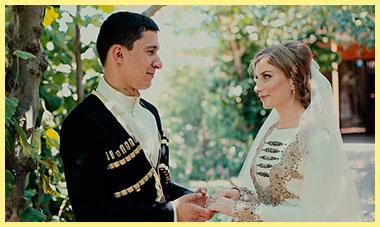 Молодожены дагестанской свадьбы