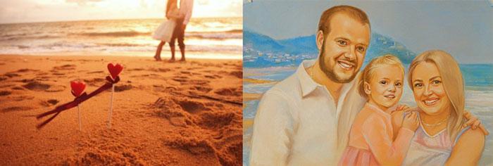 Прогулка пары на пляже и семейный портрет