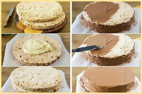 Смазка и склеивание коржей торта