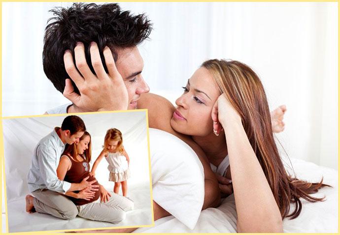 Супруги нежатся в постели, беременность и дети
