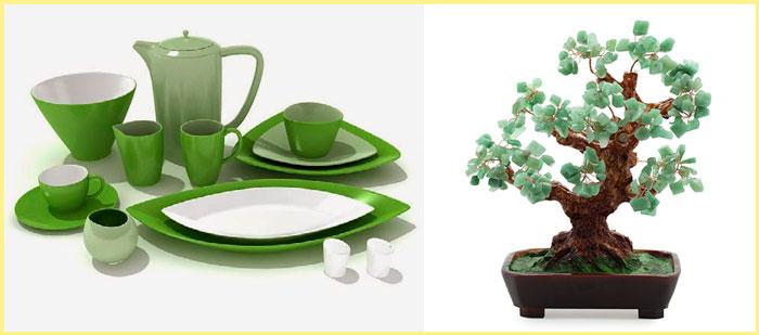 Посуда зеленая и дерево с бериллом