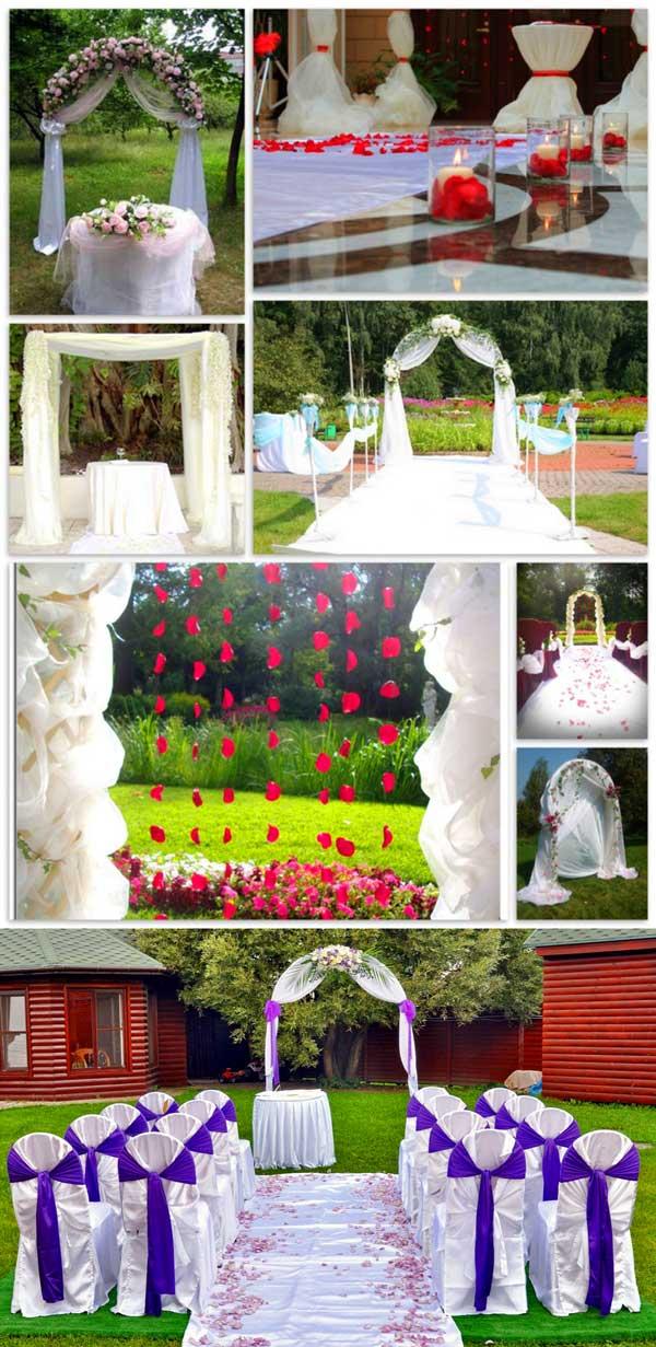 Арка и столы выездной свадьбы