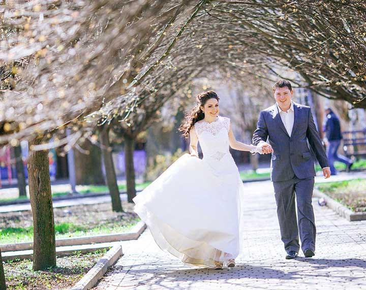 Жених и невеста, съемка свадьбы