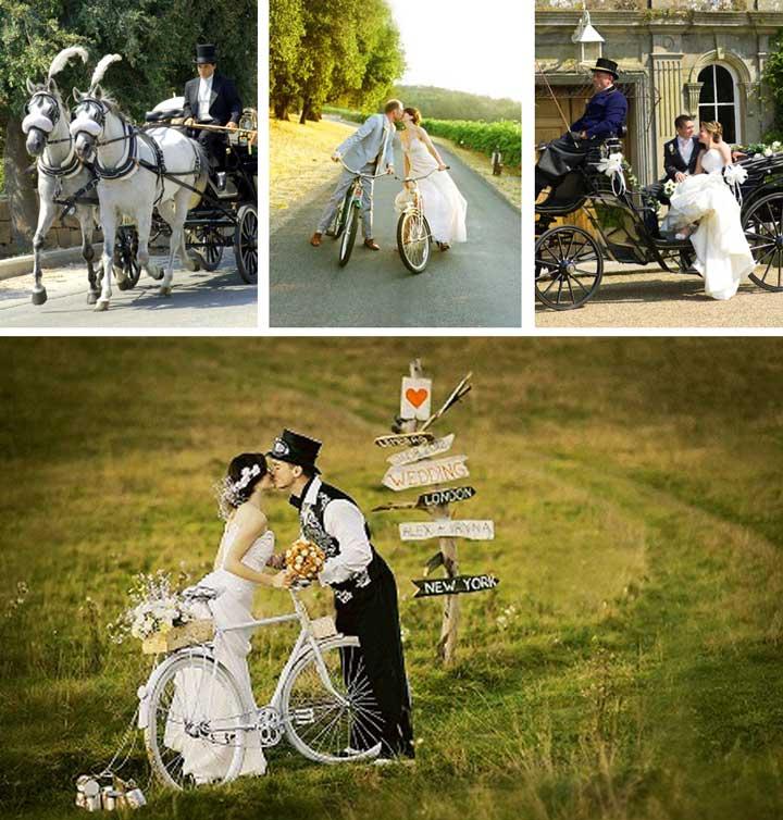 Велосипед с повозкой на эко свадьбе
