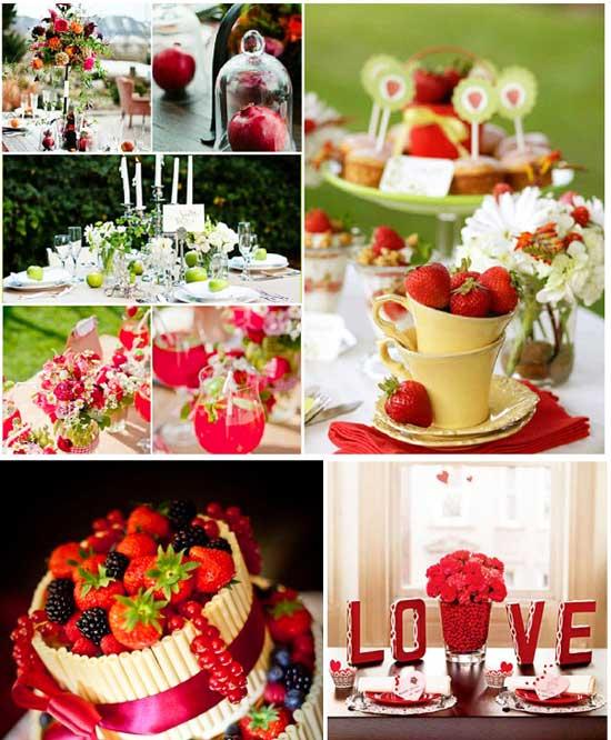 Фруктовая свадьба в красном ягодном цвете