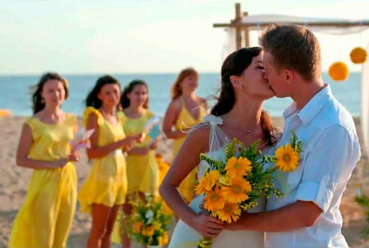 Образы молодоженов на желтой свадьбе