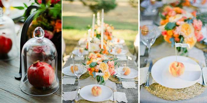 Гранатов и Персик- стиль фруктовой свадьбы