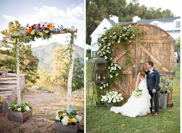 Цветы живые на свадьбу в рустик стиле