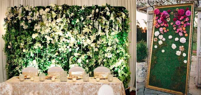 Зеленый фон на свадьбу