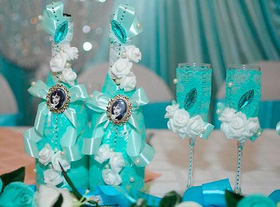 Бирюзовая свадьба оформление стола