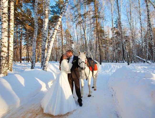 Зимние свадебные фото на свадьбе