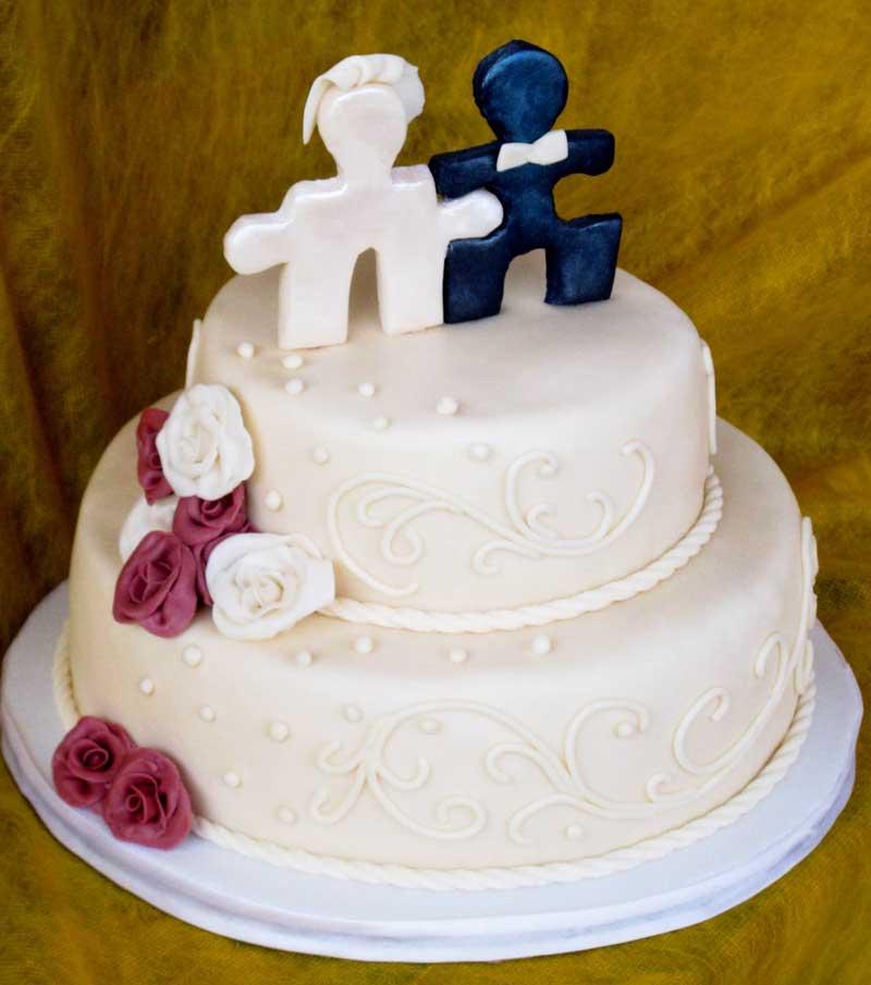 Свадебный торт в стиле пазлов