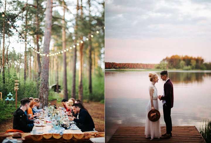 Лесная свадьба на берегу озера