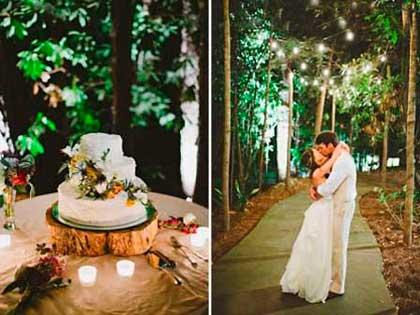 Стол на свадьбе в лесу