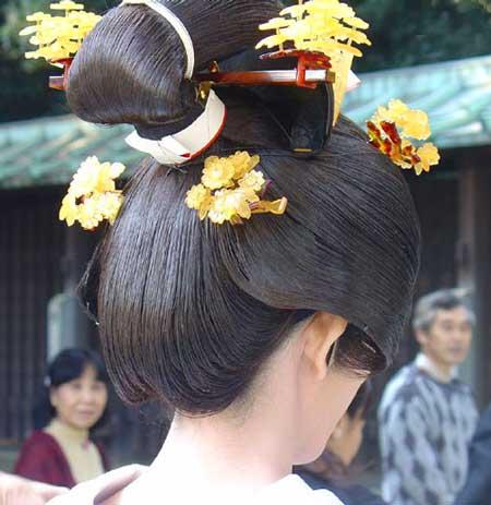 Японская прическа невесты при выкупе