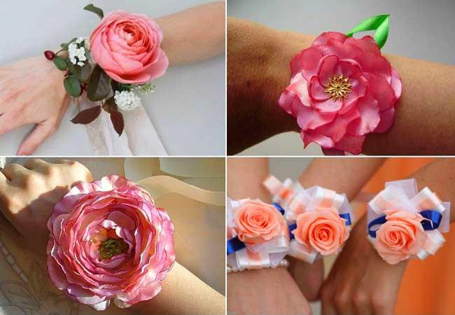 Браслет из искусственных цветов своими руками