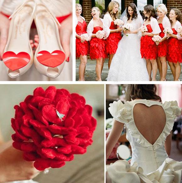 Подружки невесты и красный стиль свадьбы