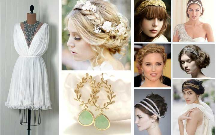 Прическа невесты на греческой свадьбе