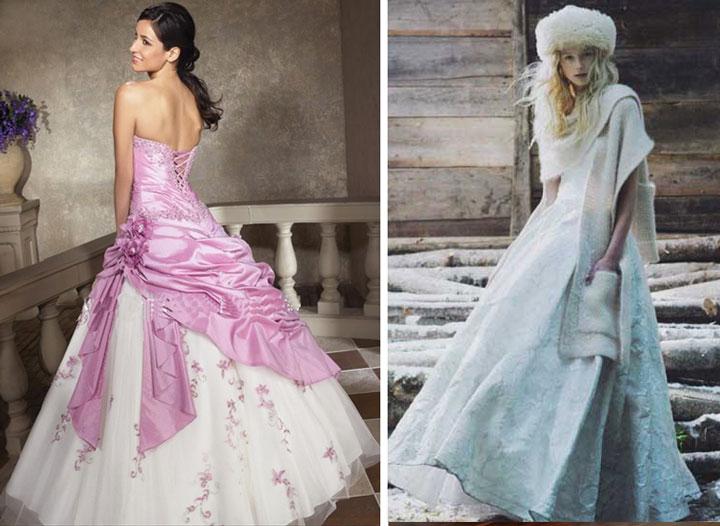 Зимнее и розовое платье невесты