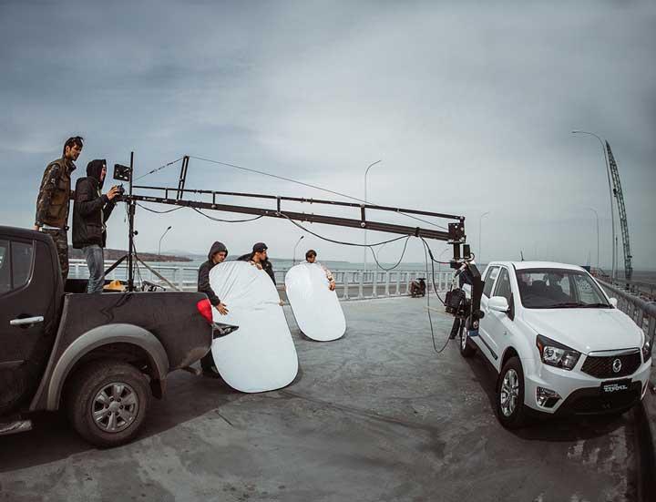 Авто и процесс видеосъемки рекламы