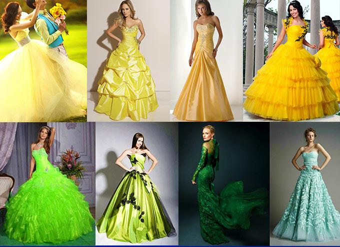 желтое и зеленое свадебное платье