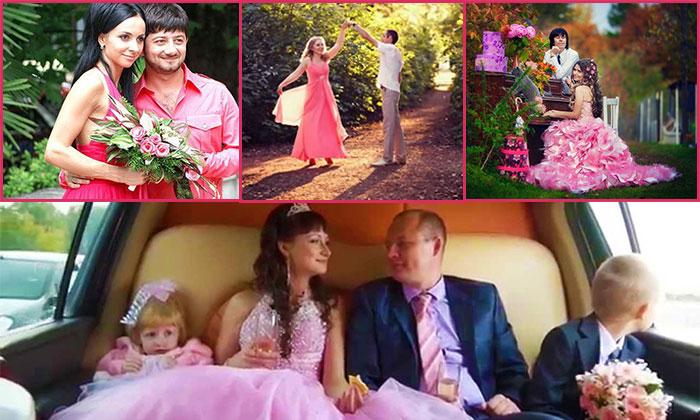 Одежда молодых на розовую свадьбу