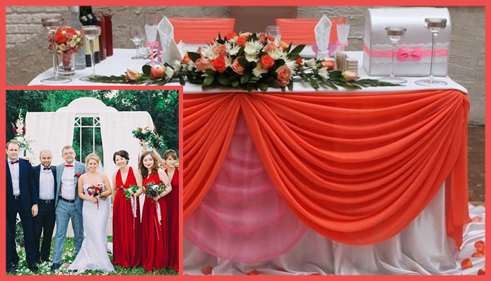 Оформление коралловой свадьбы