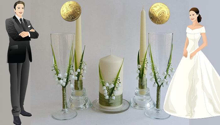Традиционные монетки в свадебных бокалах
