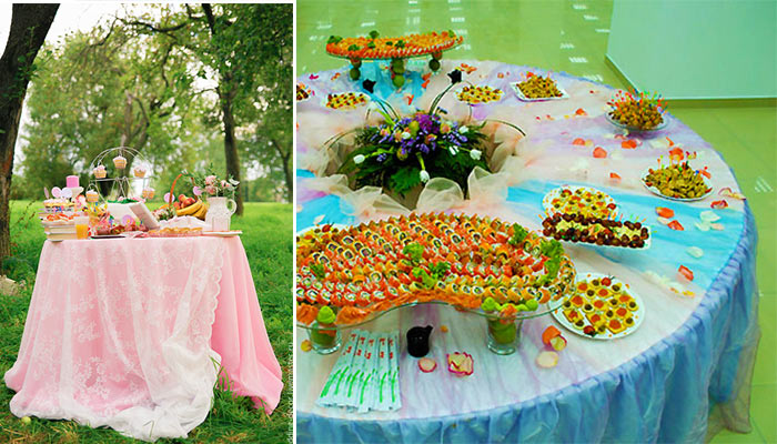 Украшения столов для свадебного фуршета