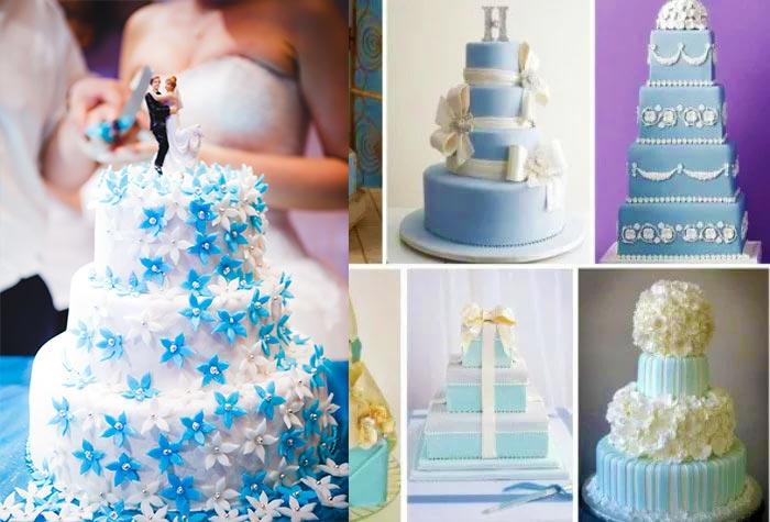 Свадебный торт в голубых тонах