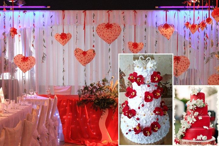 Торт и украшения свадьбы в красных тонах