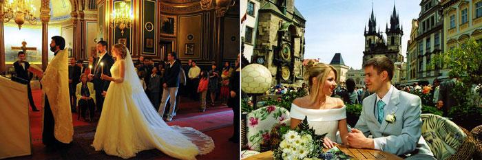 Молодожены в едут в карете в париже и венчание