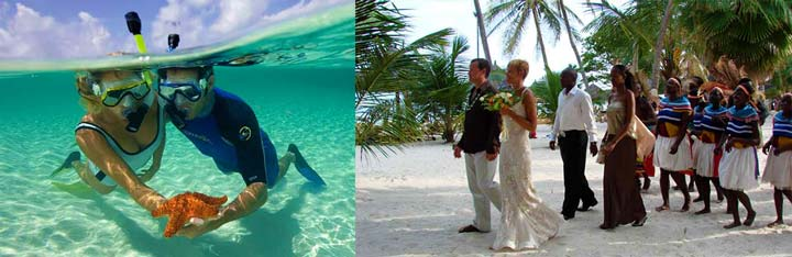 Молодожены под водой и свадьба на пляже