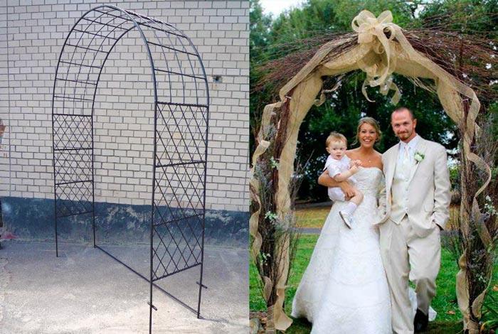 Каркас арки и сввадебная арка из дерева с молодоженами